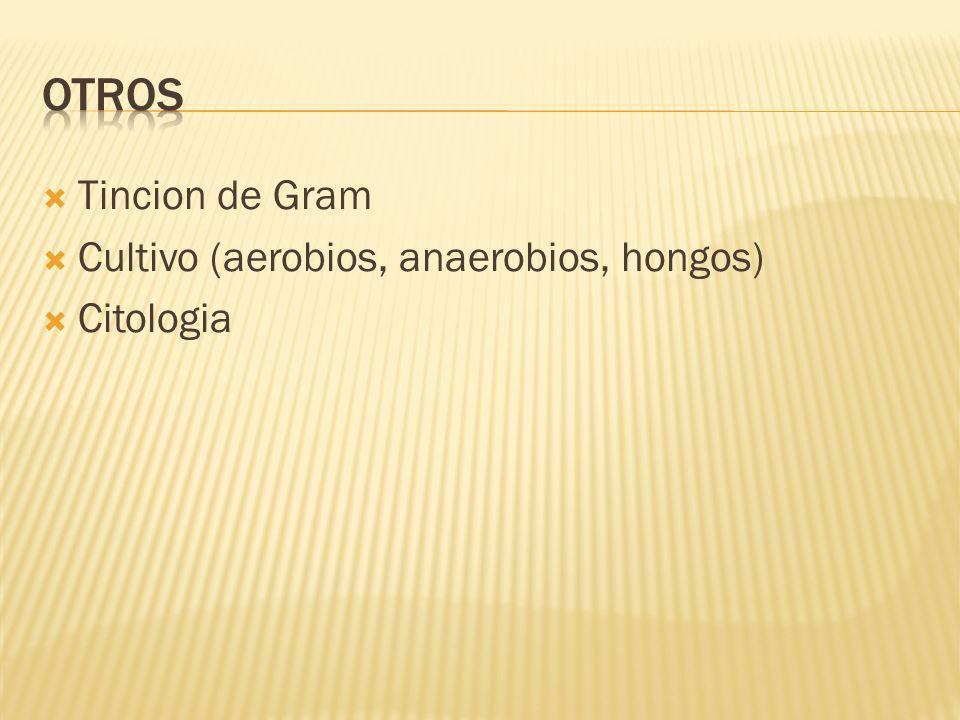 Tincion de Gram Cultivo (aerobios, anaerobios, hongos) Citologia