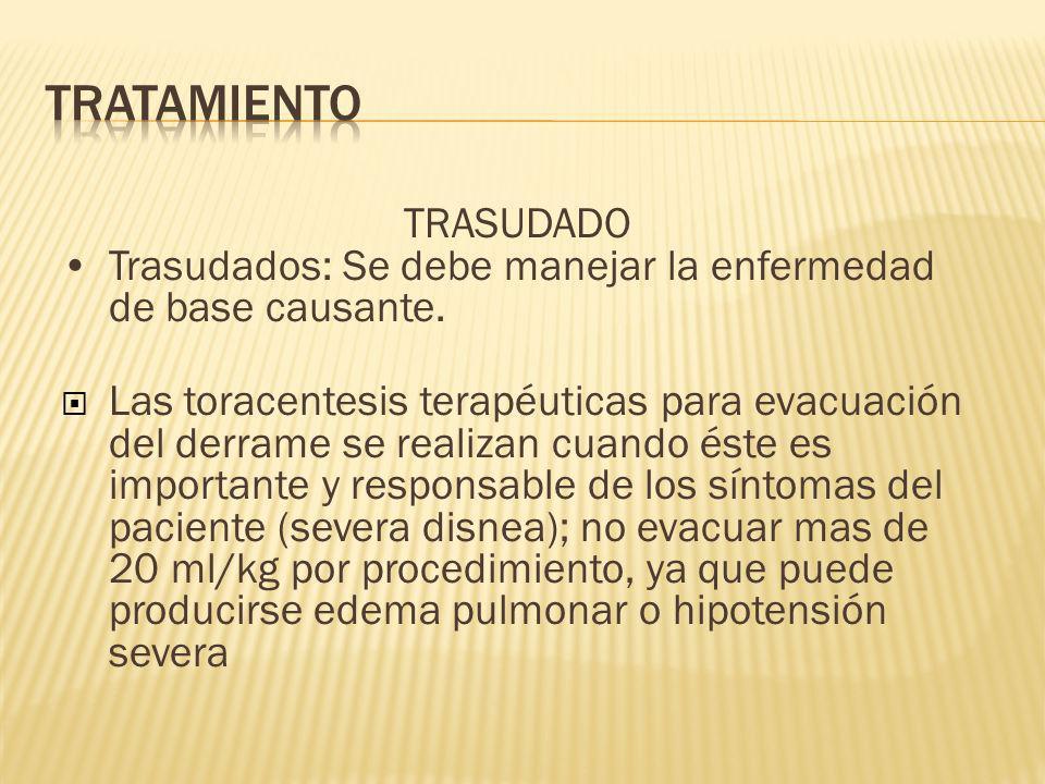 TRASUDADO Trasudados: Se debe manejar la enfermedad de base causante.