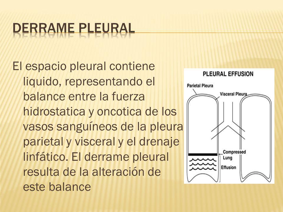 El espacio pleural contiene liquido, representando el balance entre la fuerza hidrostatica y oncotica de los vasos sanguíneos de la pleura parietal y visceral y el drenaje linfático.