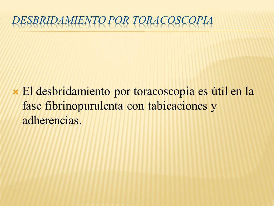 El desbridamiento por toracoscopia es útil en la fase fibrinopurulenta con tabicaciones y adherencias.