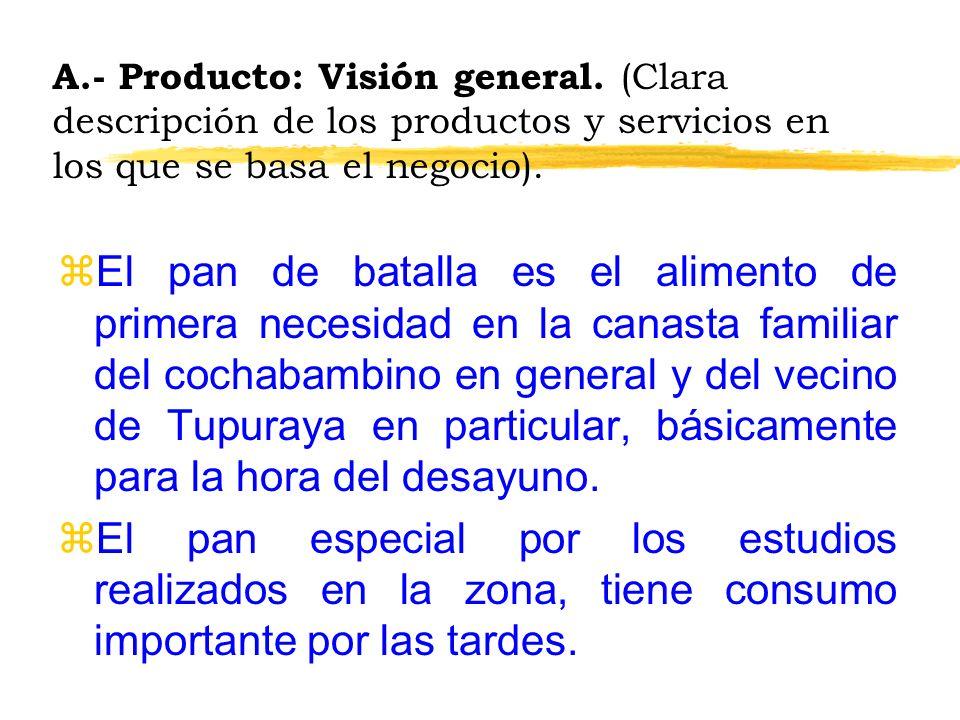 A.- Producto: Visión general. (Clara descripción de los productos y servicios en los que se basa el negocio). zEl pan de batalla es el alimento de pri