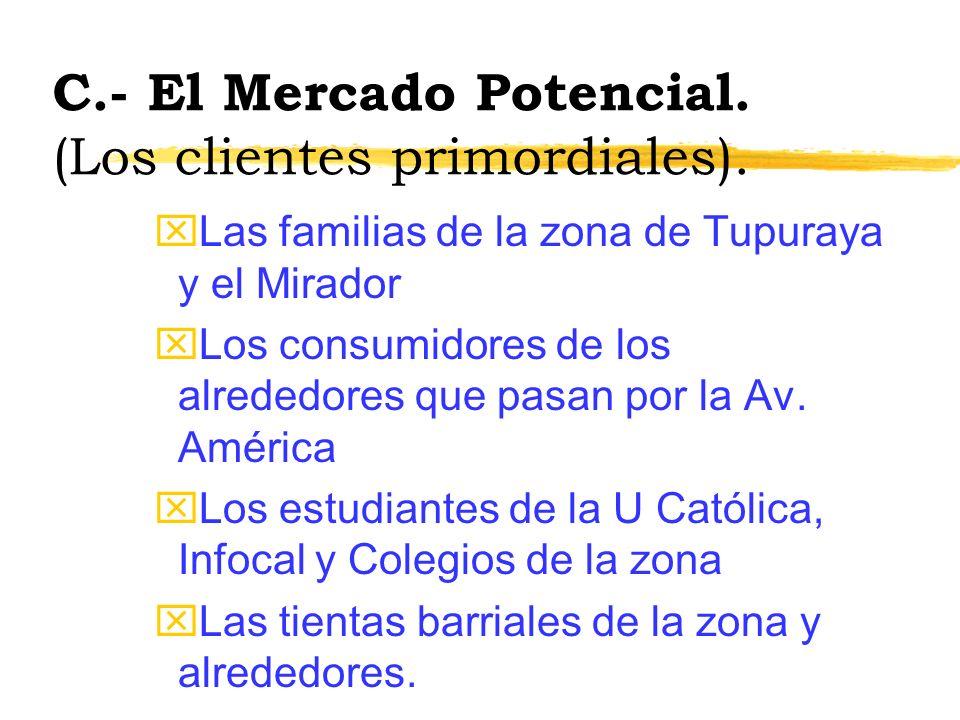 C.- El Mercado Potencial.(Los clientes primordiales).