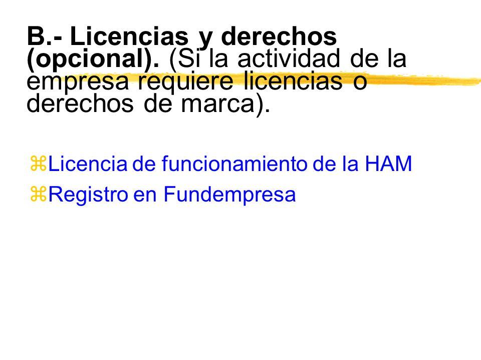 B.- Licencias y derechos (opcional). (Si la actividad de la empresa requiere licencias o derechos de marca). zLicencia de funcionamiento de la HAM zRe