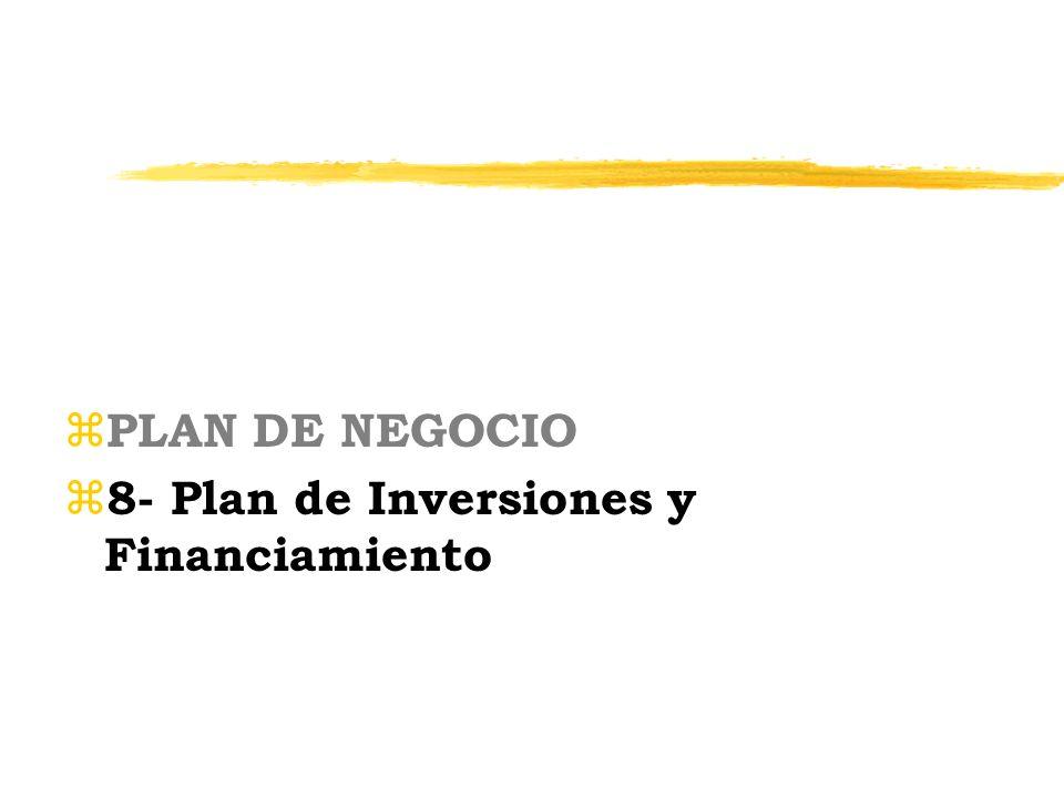 z PLAN DE NEGOCIO z 8- Plan de Inversiones y Financiamiento