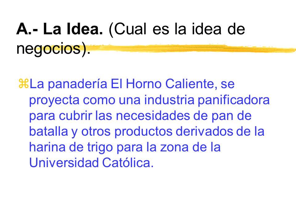 A.- La Idea. (Cual es la idea de negocios). zLa panadería El Horno Caliente, se proyecta como una industria panificadora para cubrir las necesidades d