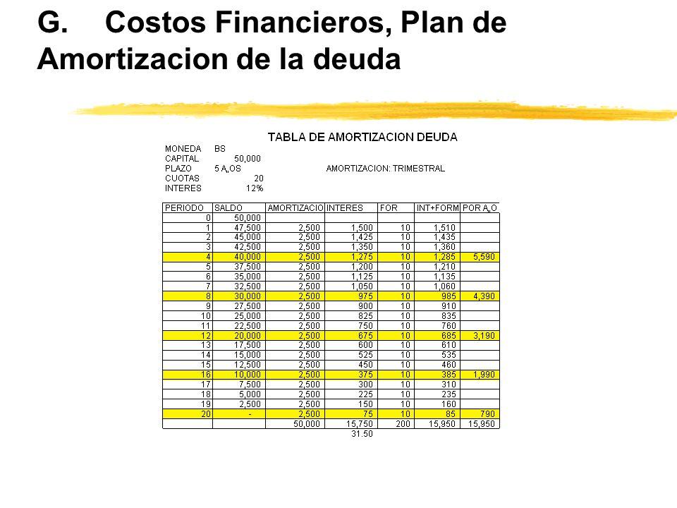G.Costos Financieros, Plan de Amortizacion de la deuda