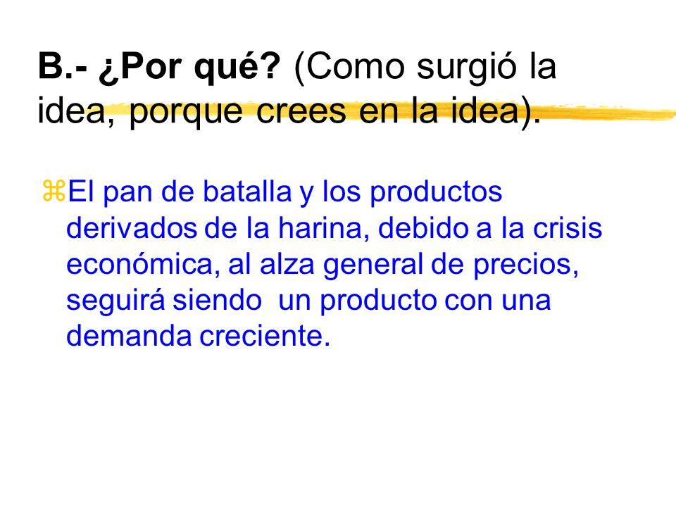 B.- ¿Por qué? (Como surgió la idea, porque crees en la idea). zEl pan de batalla y los productos derivados de la harina, debido a la crisis económica,