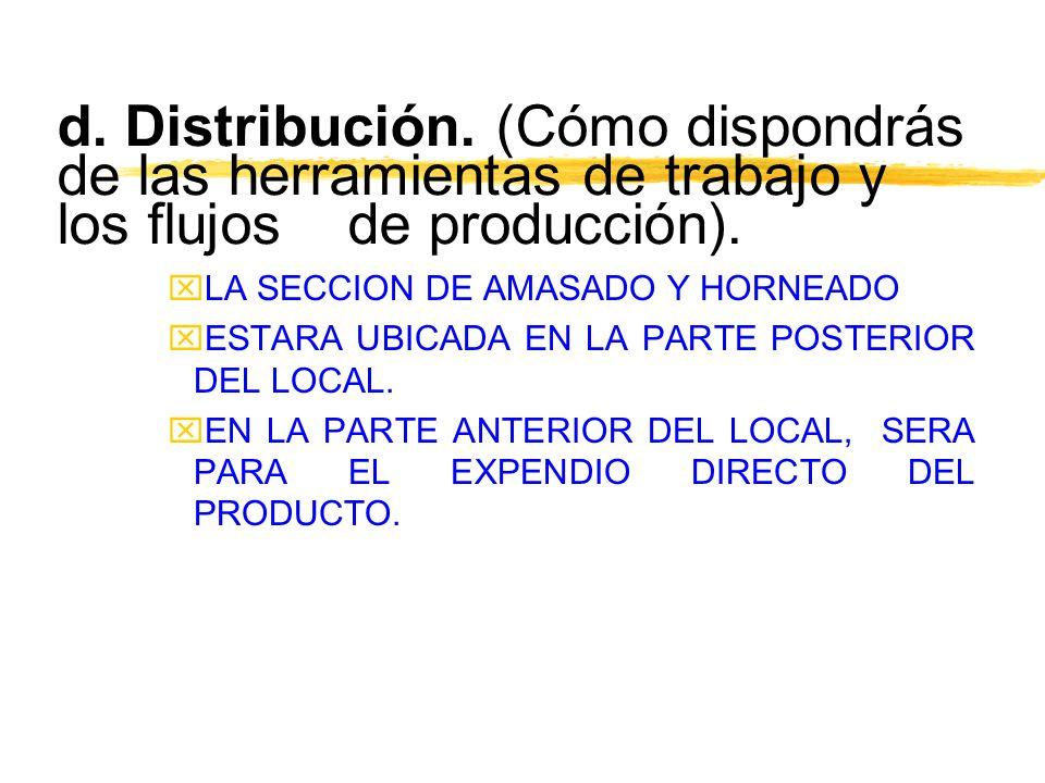d. Distribución. (Cómo dispondrás de las herramientas de trabajo y los flujos de producción). xLA SECCION DE AMASADO Y HORNEADO xESTARA UBICADA EN LA