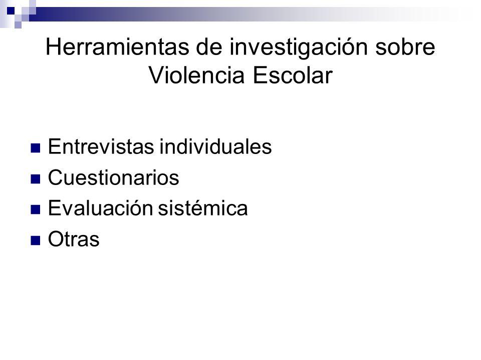 Herramientas de investigación sobre Violencia Escolar Entrevistas individuales Cuestionarios Evaluación sistémica Otras