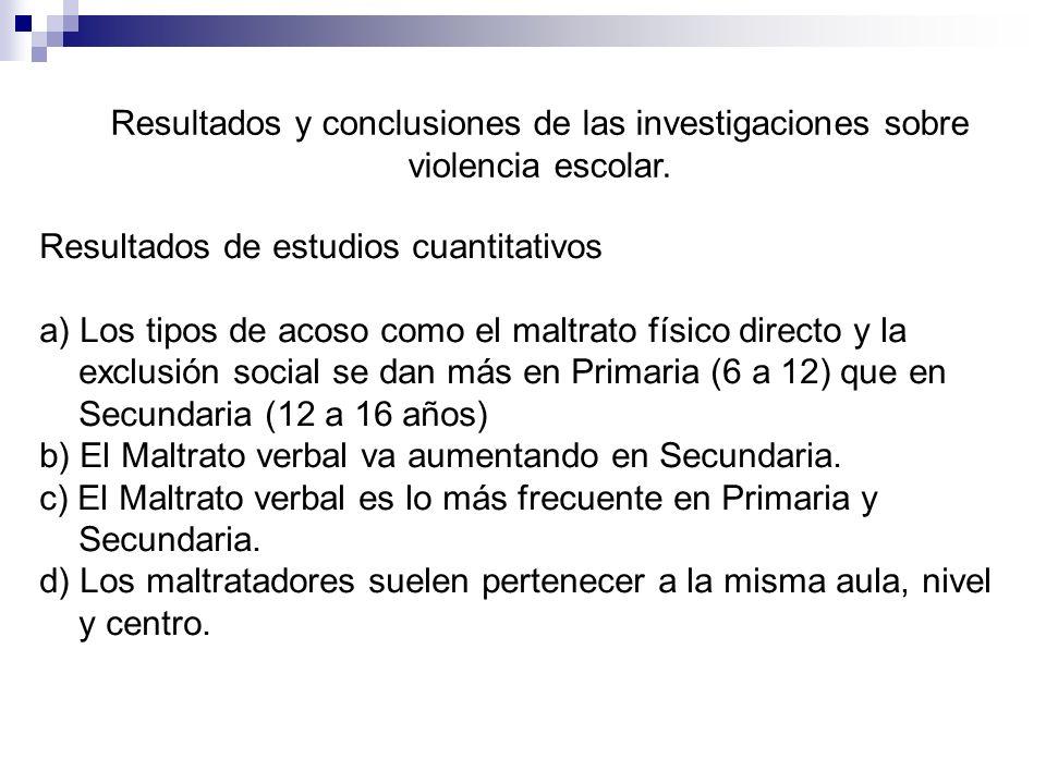 Resultados y conclusiones de las investigaciones sobre violencia escolar. Resultados de estudios cuantitativos a) Los tipos de acoso como el maltrato