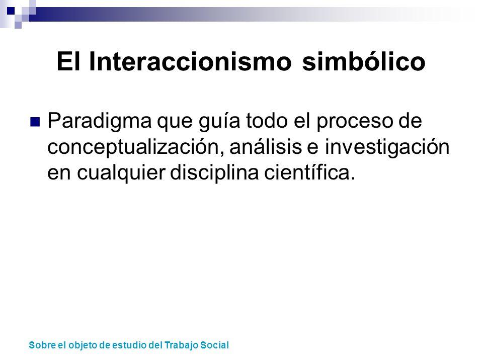 El Interaccionismo simbólico Paradigma que guía todo el proceso de conceptualización, análisis e investigación en cualquier disciplina científica. Sob