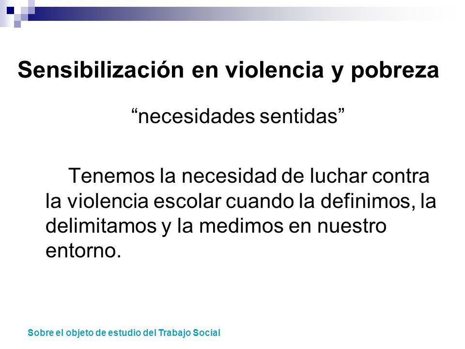 necesidades sentidas Tenemos la necesidad de luchar contra la violencia escolar cuando la definimos, la delimitamos y la medimos en nuestro entorno. S