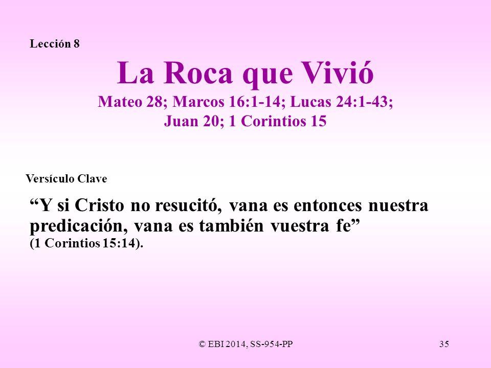 © EBI 2014, SS-954-PP35 Lección 8 Y si Cristo no resucitó, vana es entonces nuestra predicación, vana es también vuestra fe (1 Corintios 15:14). La Ro
