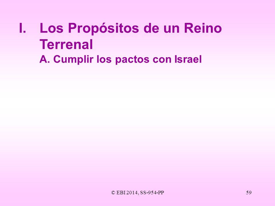 © EBI 2014, SS-954-PP59 I.Los Propósitos de un Reino Terrenal A.Cumplir los pactos con Israel