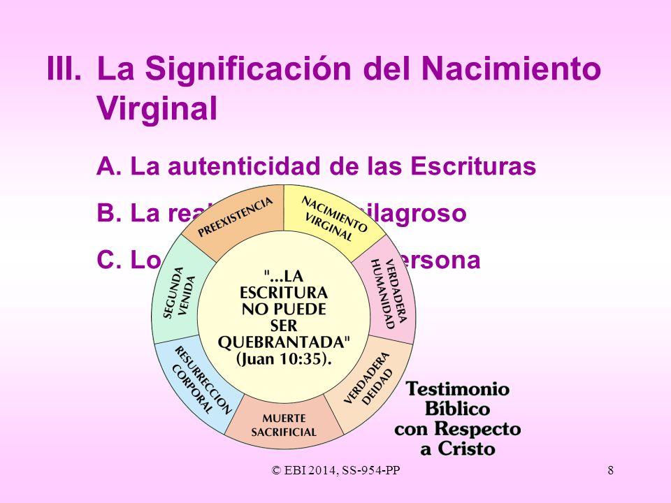 © EBI 2014, SS-954-PP8 III.La Significación del Nacimiento Virginal A.La autenticidad de las Escrituras B.La realidad de lo milagroso C.Lo apropiado d