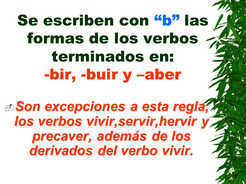 Las palabras que empiezan por bi, bis(dos), bien o bene (bien) y bibl- (libro) se escribe b Ejemplos: Bisílabo,bicicleta,bienestar,bibliografía,benefa