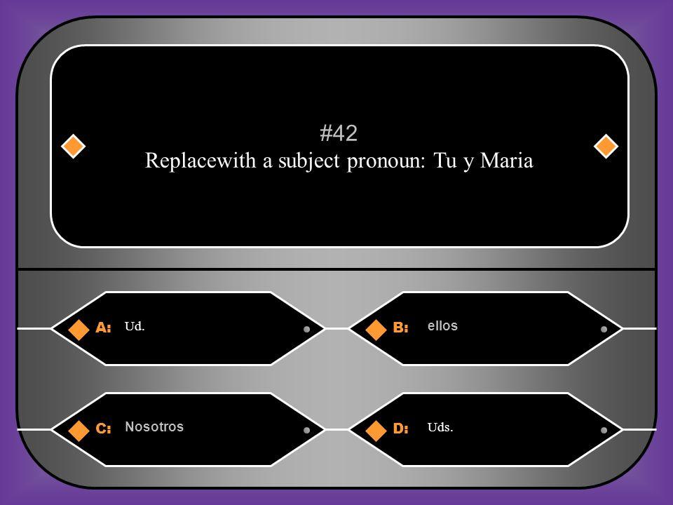 A:B: enseño enseñas #41 La señora Moreau_____ (enseñar) la clase ciencias. C:D: enseñamos enseña