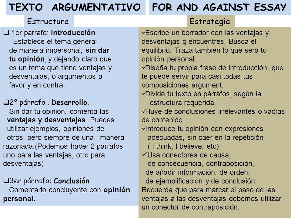 FOR AND AGAINST ESSAYTEXTO ARGUMENTATIVO 1er párrafo: Introducción Establece el tema general de manera impersonal, sin dar tu opinión, y dejando claro