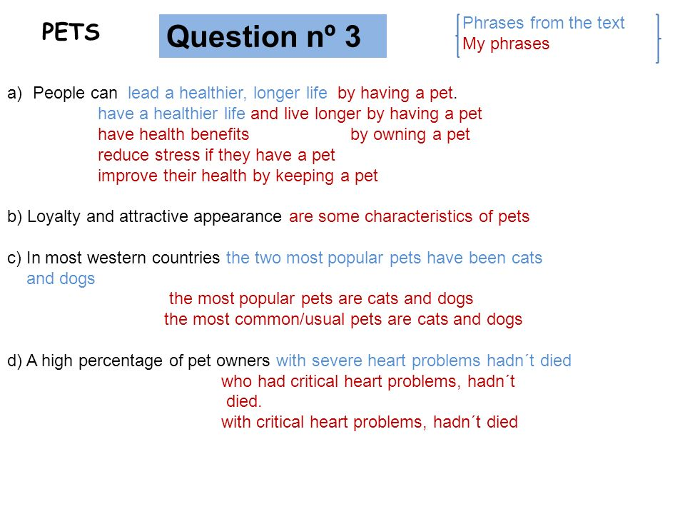 PETS Question nº 3 a)People can lead a healthier, longer life by having a pet. have a healthier life and live longer by having a pet have health benef