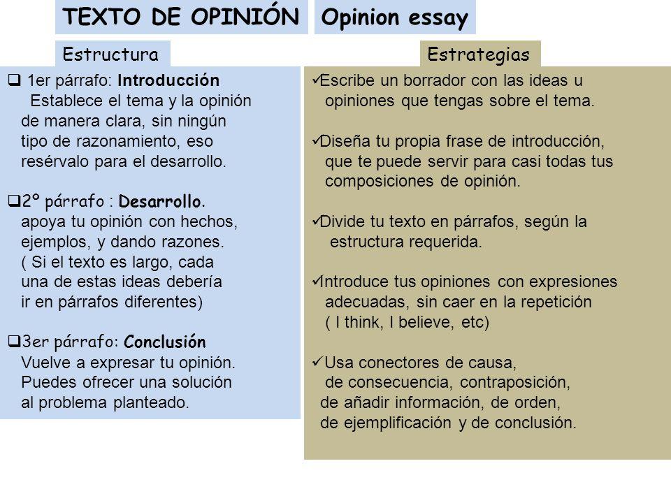 TEXTO DE OPINIÓN Estructura 1er párrafo: Introducción Establece el tema y la opinión de manera clara, sin ningún tipo de razonamiento, eso resérvalo p