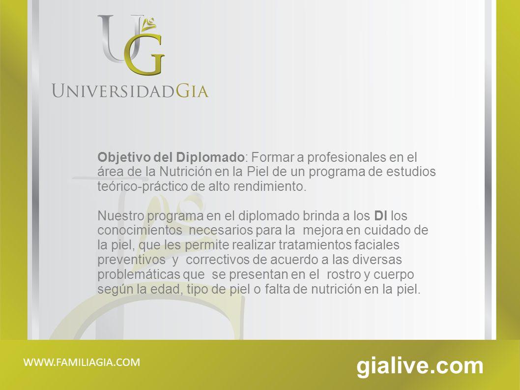 Objetivo del Diplomado: Formar a profesionales en el área de la Nutrición en la Piel de un programa de estudios teórico-práctico de alto rendimiento.