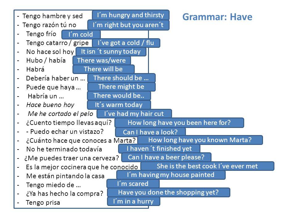 Grammar: Have - Tengo hambre y sed - Tengo razón tú no -Tengo frío -Tengo catarro / gripe -No hace sol hoy -Hubo / había -Habrá - Debería haber un … -Puede que haya … - Habría un … -Hace bueno hoy - Me he cortado el pelo -¿Cuento tiempo llevas aquí.