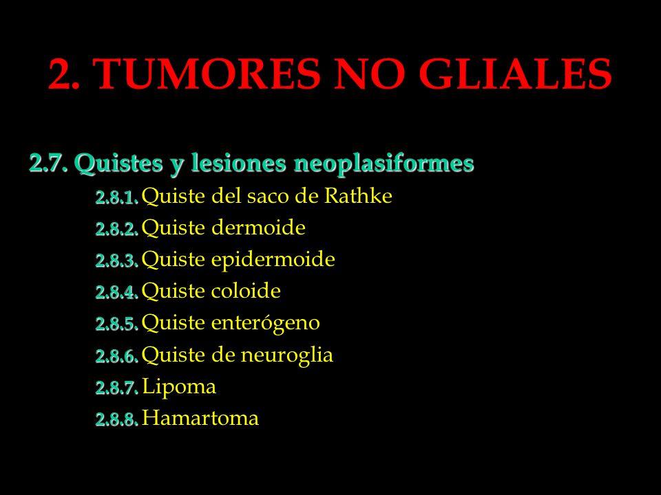 2. TUMORES NO GLIALES 2.7. Quistes y lesiones neoplasiformes 2.8.1. 2.8.1. Quiste del saco de Rathke 2.8.2. 2.8.2. Quiste dermoide 2.8.3. 2.8.3. Quist