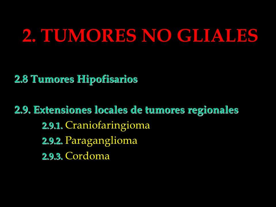 2. TUMORES NO GLIALES 2.8 Tumores Hipofisarios 2.9. Extensiones locales de tumores regionales 2.9.1. 2.9.1. Craniofaringioma 2.9.2. 2.9.2. Paraganglio