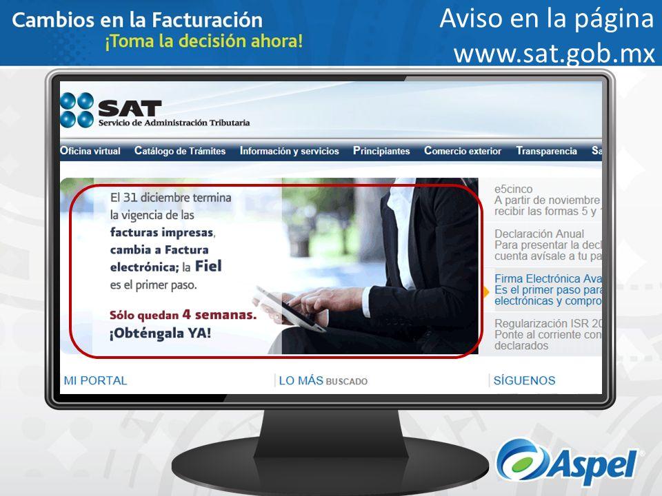 Aviso en la página www.sat.gob.mx