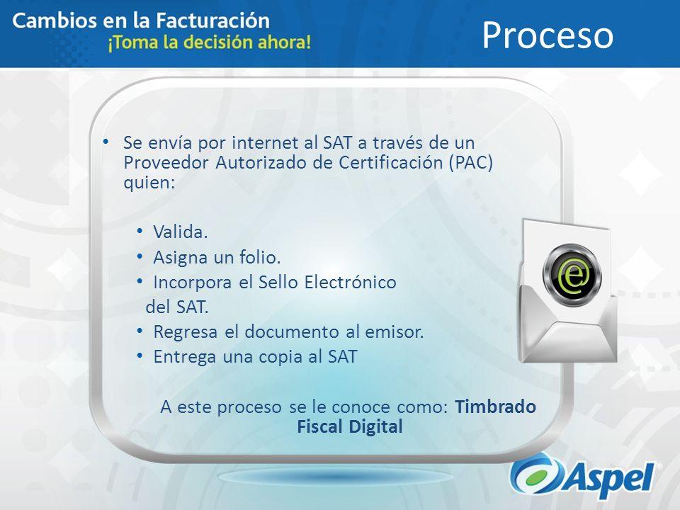 Proceso Se envía por internet al SAT a través de un Proveedor Autorizado de Certificación (PAC) quien: Valida. Asigna un folio. Incorpora el Sello Ele