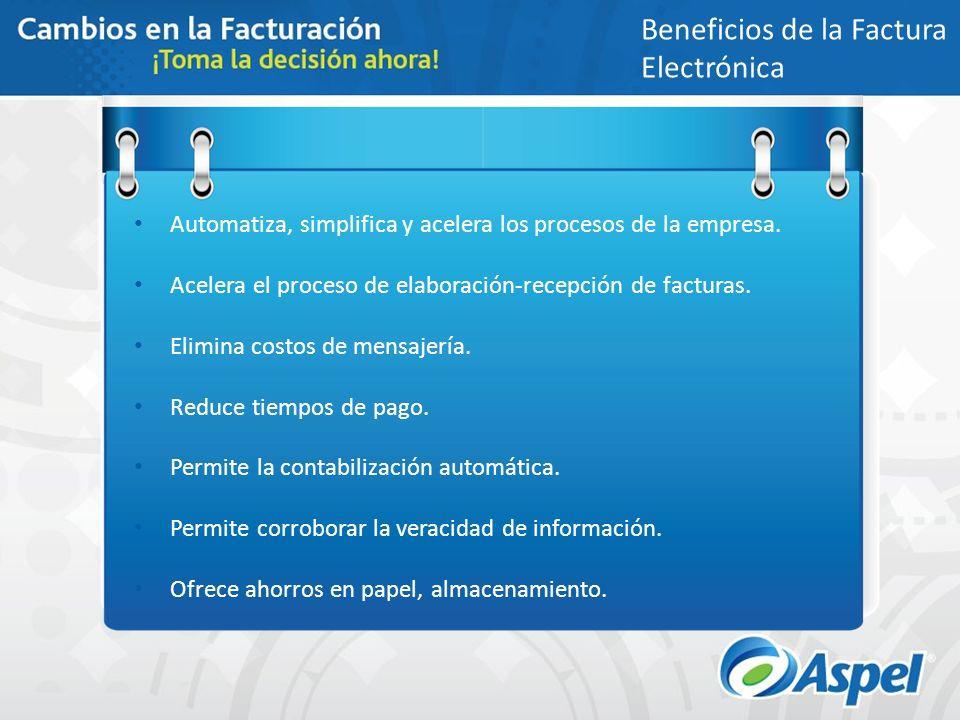 Beneficios de la Factura Electrónica Automatiza, simplifica y acelera los procesos de la empresa. Acelera el proceso de elaboración-recepción de factu