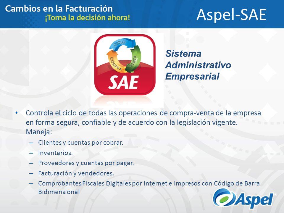 Aspel-SAE Controla el ciclo de todas las operaciones de compra-venta de la empresa en forma segura, confiable y de acuerdo con la legislación vigente.