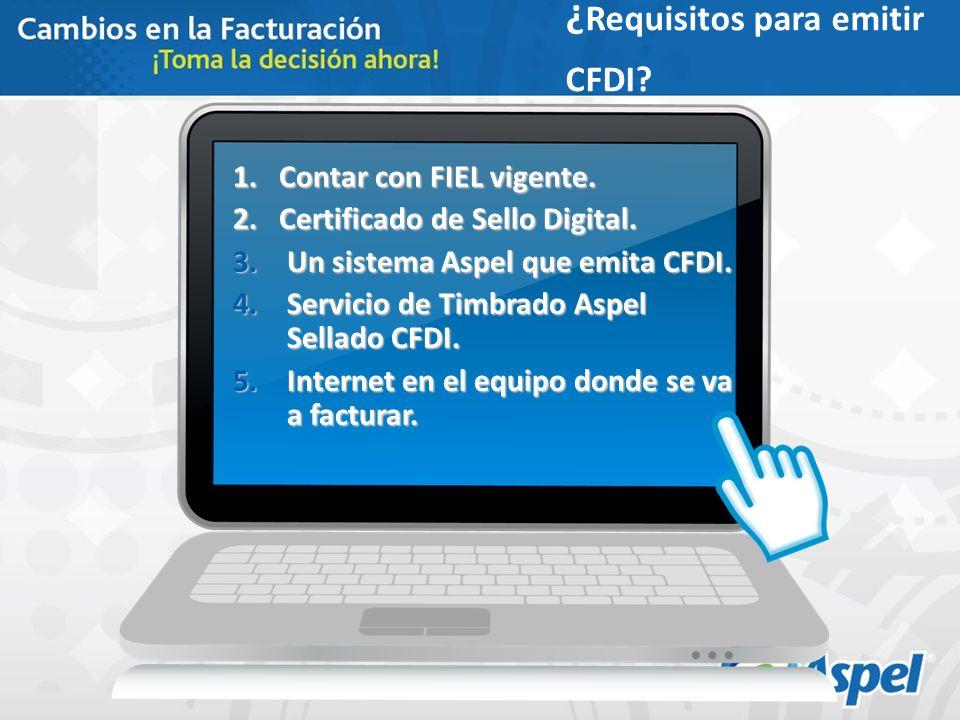 ¿ Requisitos para emitir CFDI? 1. Contar con FIEL vigente. 2. Certificado de Sello Digital. 3.Un sistema Aspel que emita CFDI. 4.Servicio de Timbrado