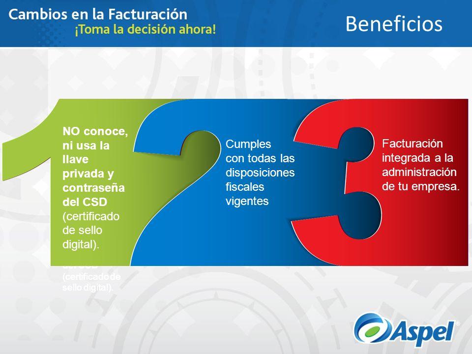 Única solución en el mercado en la que el Proveedor Autorizado de Certificación (PAC), NO conoce, ni usa la llave privada y contraseña del CSD (certif