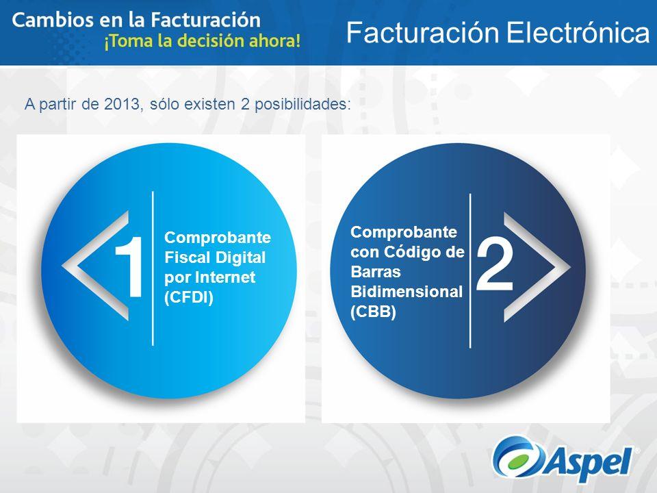 A partir de 2013, sólo existen 2 posibilidades: Facturación Electrónica Comprobante Fiscal Digital por Internet (CFDI) Comprobante con Código de Barra