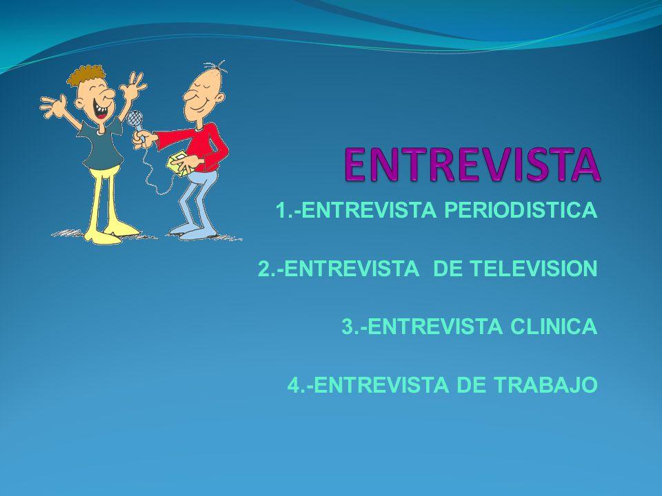 1.-ENTREVISTA PERIODISTICA 2.-ENTREVISTA DE TELEVISION 3.-ENTREVISTA CLINICA 4.-ENTREVISTA DE TRABAJO