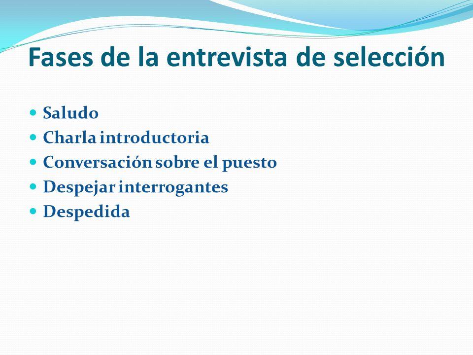 Fases de la entrevista de selección Saludo Charla introductoria Conversación sobre el puesto Despejar interrogantes Despedida