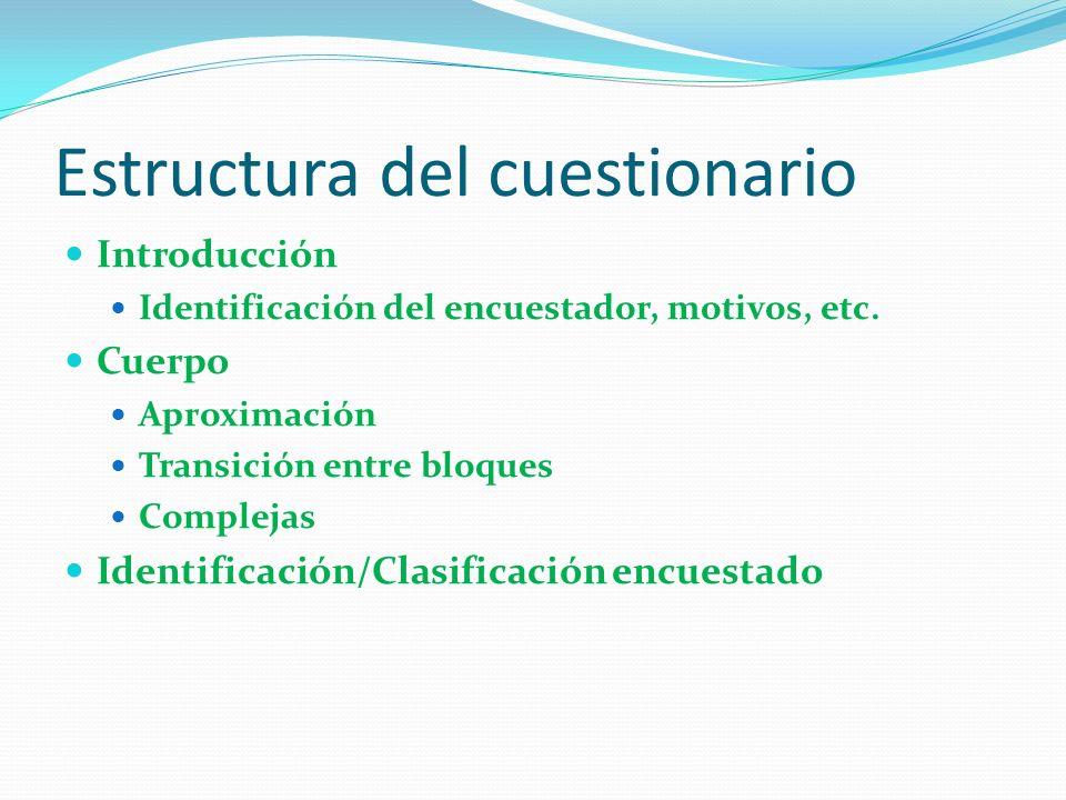 Estructura del cuestionario Introducción Identificación del encuestador, motivos, etc.