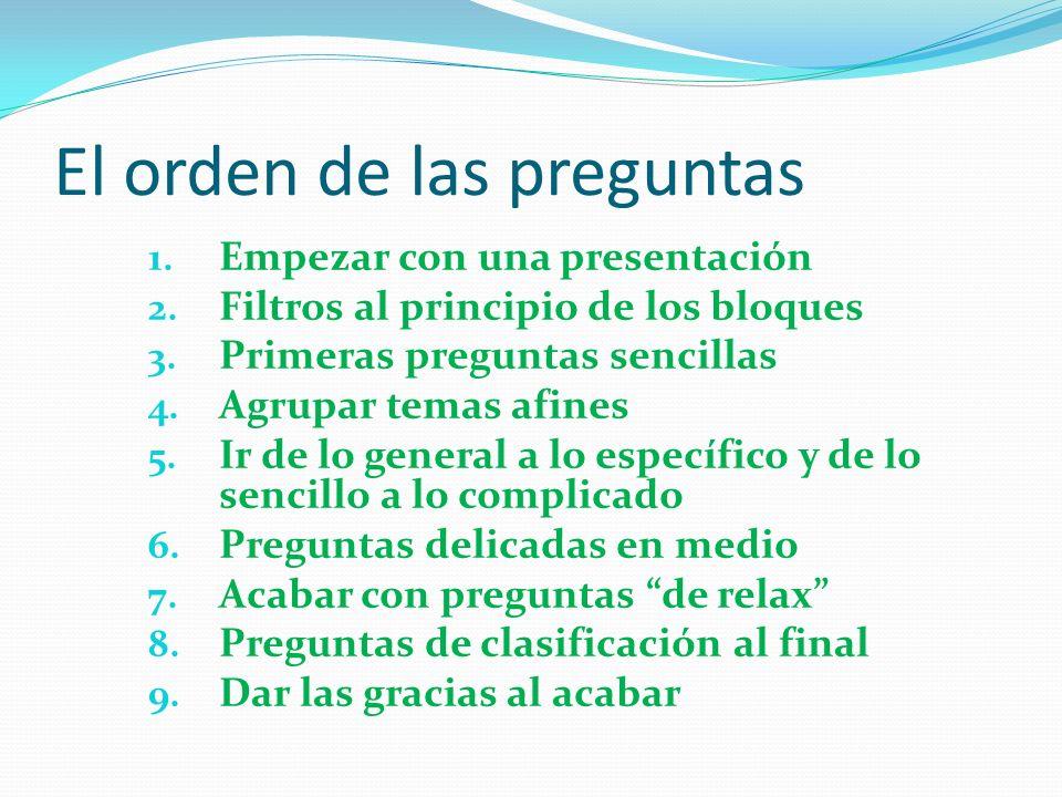El orden de las preguntas 1.Empezar con una presentación 2.