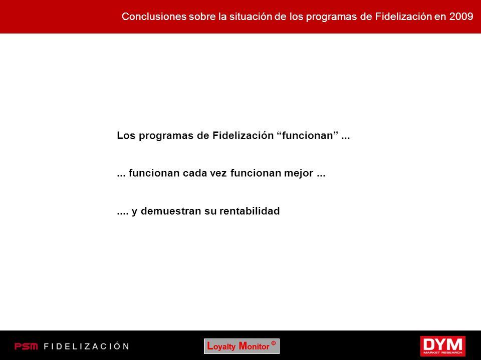 Conclusiones sobre la situación de los programas de Fidelización en 2009 Los programas de Fidelización funcionan...... funcionan cada vez funcionan me