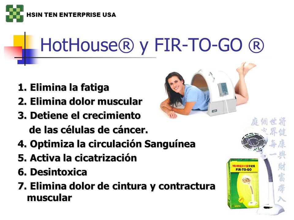 HotHouse® y FIR-TO-GO ® 1. Elimina la fatiga 2. Elimina dolor muscular 3. Detiene el crecimiento de las células de cáncer. de las células de cáncer. 4