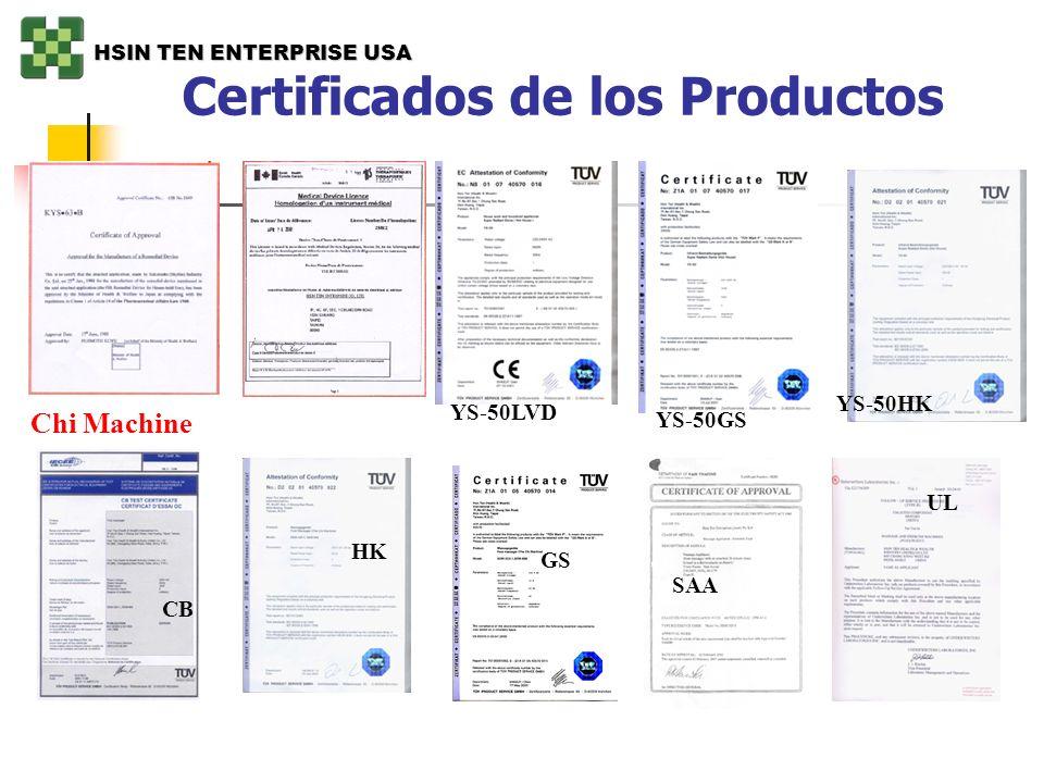 Certificados de los Productos YS-50GS YS-50LVD YS-50HK CB Chi Machine SAA UL HK GS HSIN TEN ENTERPRISE USA