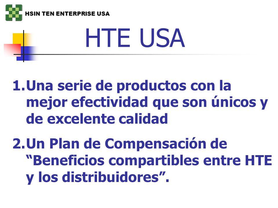 HTE USA 1.Una serie de productos con la mejor efectividad que son únicos y de excelente calidad 2.Un Plan de Compensación de Beneficios compartibles e