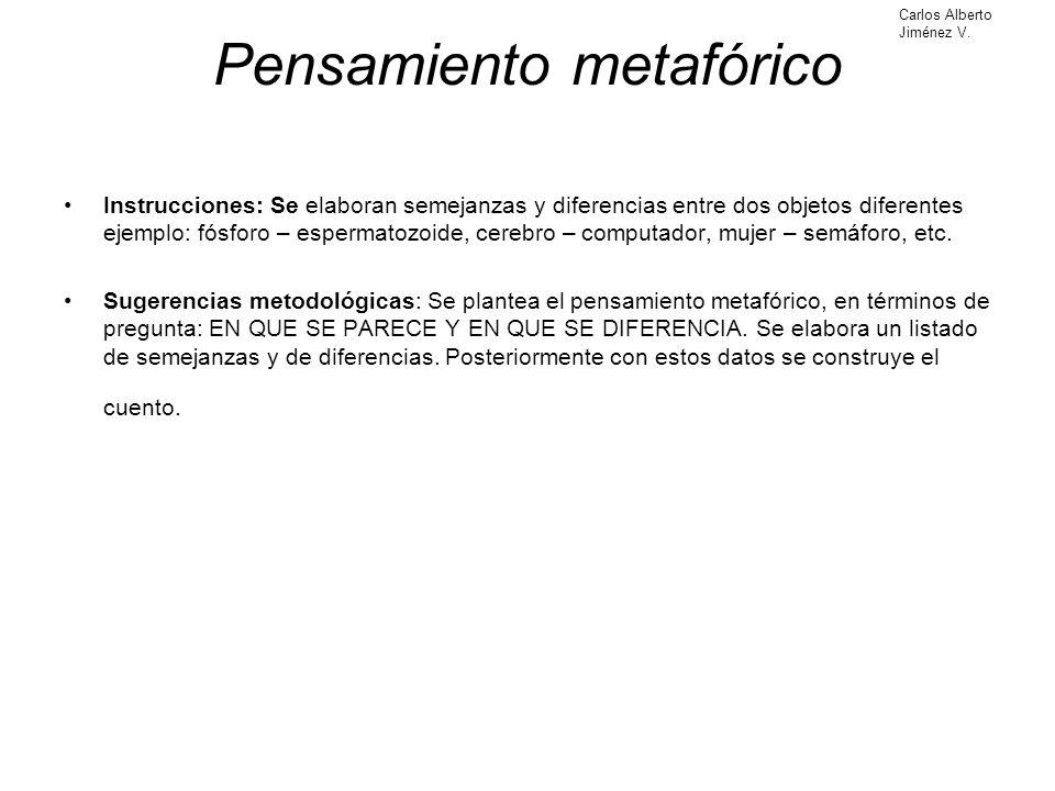 Pensamiento metafórico Instrucciones: Se elaboran semejanzas y diferencias entre dos objetos diferentes ejemplo: fósforo – espermatozoide, cerebro – c