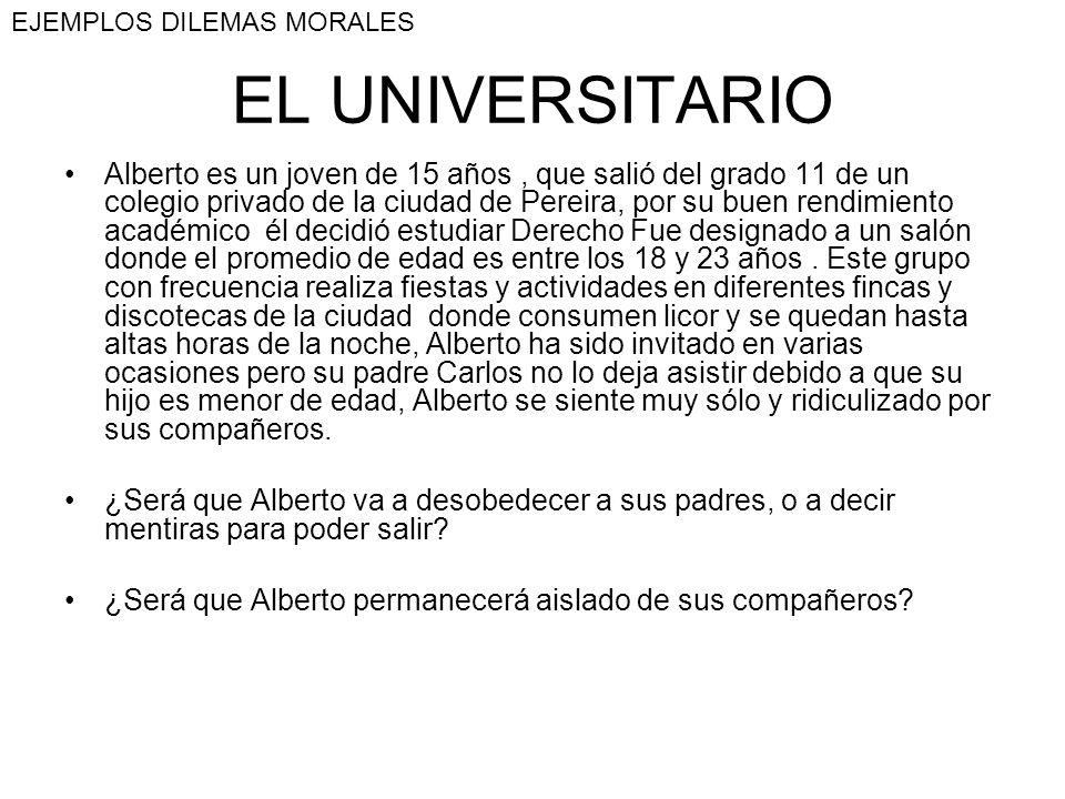EL UNIVERSITARIO Alberto es un joven de 15 años, que salió del grado 11 de un colegio privado de la ciudad de Pereira, por su buen rendimiento académi