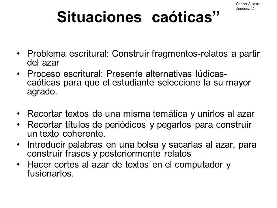 Situaciones caóticas Problema escritural: Construir fragmentos-relatos a partir del azar Proceso escritural: Presente alternativas lúdicas- caóticas p