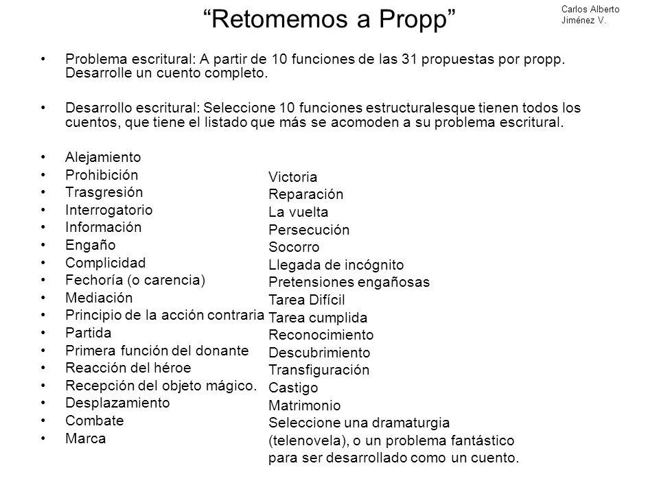 Retomemos a Propp Problema escritural: A partir de 10 funciones de las 31 propuestas por propp. Desarrolle un cuento completo. Desarrollo escritural: