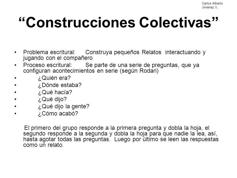 Construcciones Colectivas Problema escritural:Construya pequeños Relatos interactuando y jugando con el compañero Proceso escritural:Se parte de una s