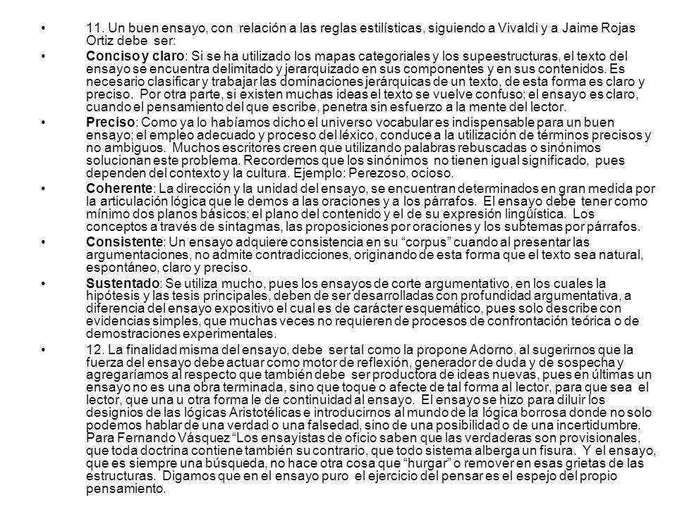 11. Un buen ensayo, con relación a las reglas estilísticas, siguiendo a Vivaldi y a Jaime Rojas Ortiz debe ser: Conciso y claro: Si se ha utilizado lo