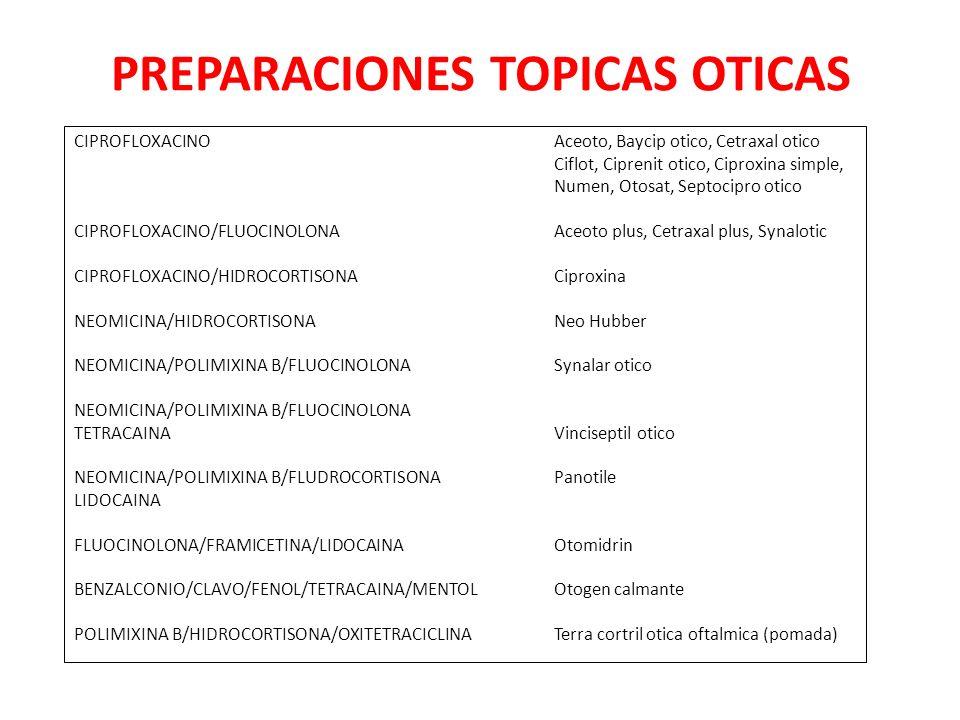 PREPARACIONES TOPICAS OTICAS CIPROFLOXACINOAceoto, Baycip otico, Cetraxal otico Ciflot, Ciprenit otico, Ciproxina simple, Numen, Otosat, Septocipro otico CIPROFLOXACINO/FLUOCINOLONAAceoto plus, Cetraxal plus, Synalotic CIPROFLOXACINO/HIDROCORTISONACiproxina NEOMICINA/HIDROCORTISONANeo Hubber NEOMICINA/POLIMIXINA B/FLUOCINOLONASynalar otico NEOMICINA/POLIMIXINA B/FLUOCINOLONA TETRACAINAVinciseptil otico NEOMICINA/POLIMIXINA B/FLUDROCORTISONAPanotile LIDOCAINA FLUOCINOLONA/FRAMICETINA/LIDOCAINAOtomidrin BENZALCONIO/CLAVO/FENOL/TETRACAINA/MENTOLOtogen calmante POLIMIXINA B/HIDROCORTISONA/OXITETRACICLINATerra cortril otica oftalmica (pomada)